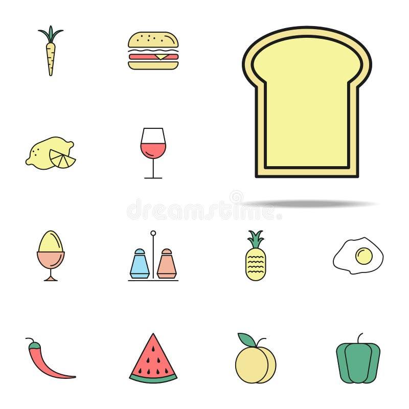 parte de ícone colorido do pão Grupo universal dos ícones do alimento para a Web e o móbil ilustração stock