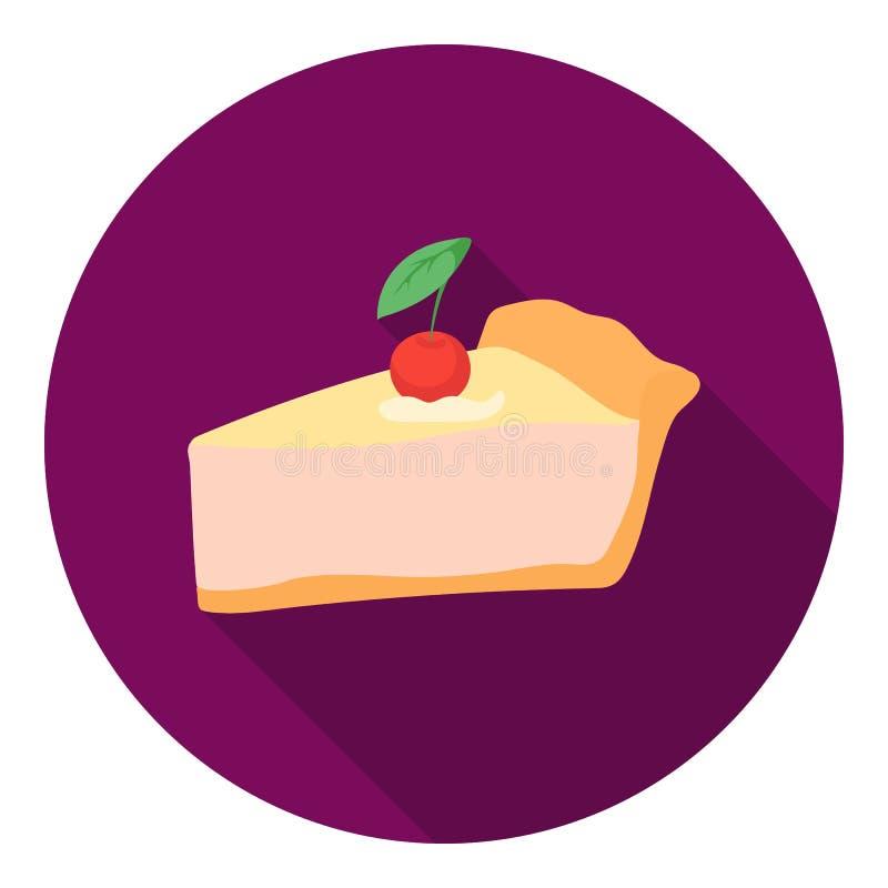 Parte de ícone da torta da ação de graças no estilo liso no fundo branco Vetor canadense do estoque do símbolo do dia da ação de  ilustração royalty free