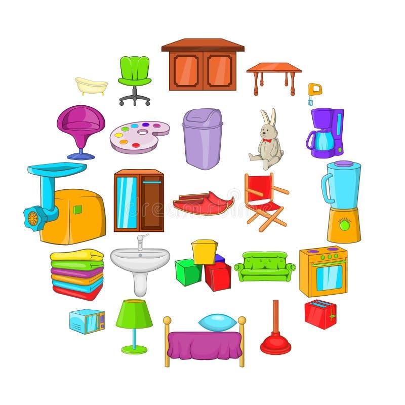 A parte de ícones da mobília ajustou-se, estilo dos desenhos animados ilustração stock