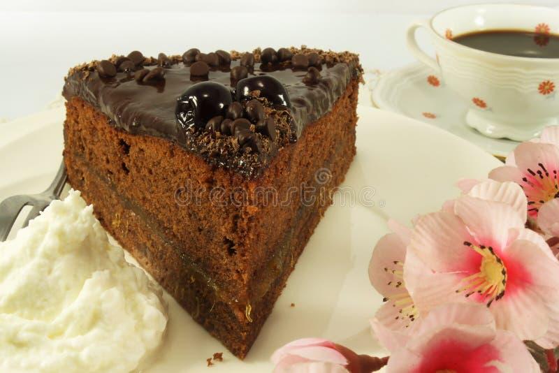 Parte de bolo de chocolate imagens de stock
