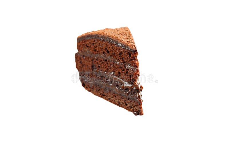 Parte de bolo de chocolate isolada fotos de stock royalty free