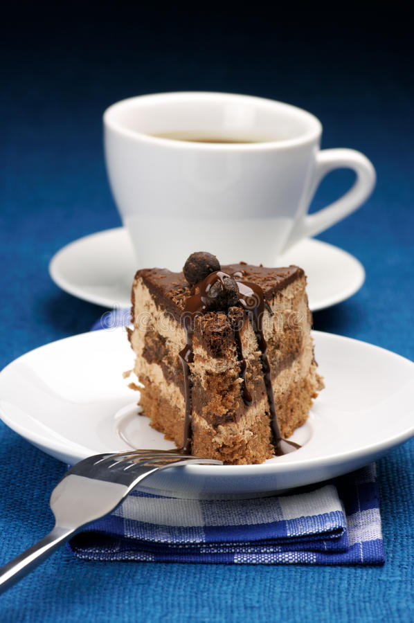 Parte de bolo e de café imagens de stock