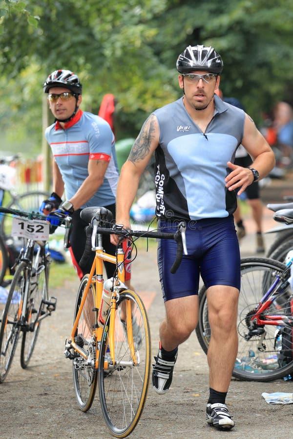 Parte de ciclo de triathlon en Praga 2012 fotografía de archivo