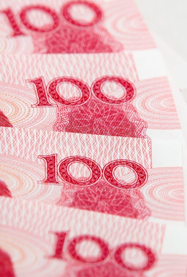 Parte de cientos notas de yuan foto de archivo