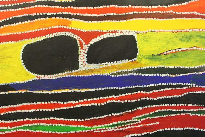 Parte de ilustraciones aborígenes en el museo, Utrecht, Países Bajos fotos de archivo