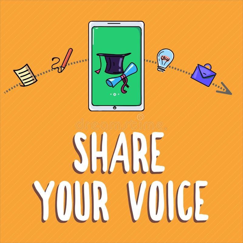 Parte de la escritura del texto de la escritura su voz Significado del concepto que pide que el empleado o el miembro dé su opini libre illustration