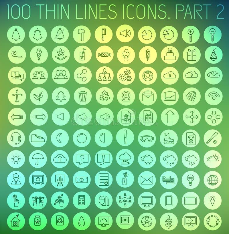Parte 2 de linhas finas fundo ajustado da coleção do conceito do ícone do pictograma Projeto do molde do vetor para a Web e a apl ilustração stock