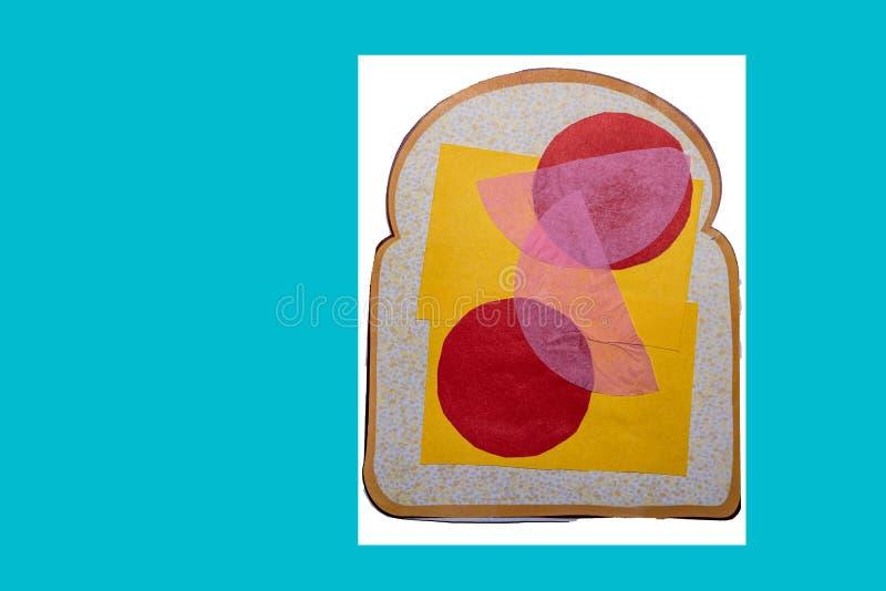 Parte de pão falsificada com queijo e tomates da pimenta no branco foto de stock