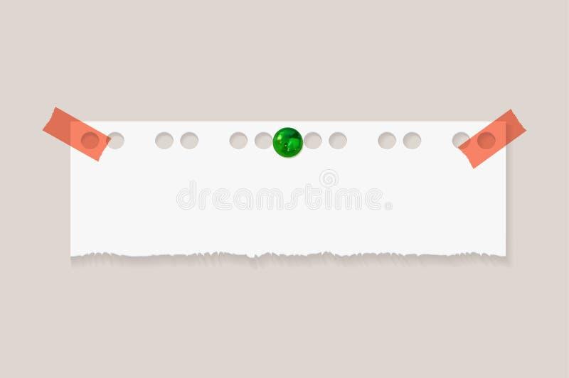 Parte de papel rasgada branca do vetor unida pela burocracia e pelo Pin Button, placa ilustração stock