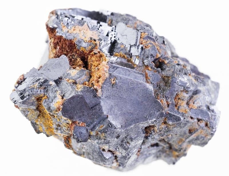 parte de pedra cristalina crua do galeno no branco fotografia de stock