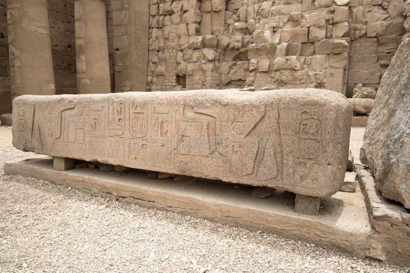 Parte de Stella Gran Pasillo hipóstilo del templo de Karnak Luxor, Egipto fotos de archivo