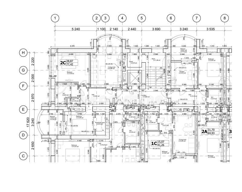 Parte de um plano arquitetónico detalhado, planta baixa, disposição, modelo Vetor ilustração royalty free