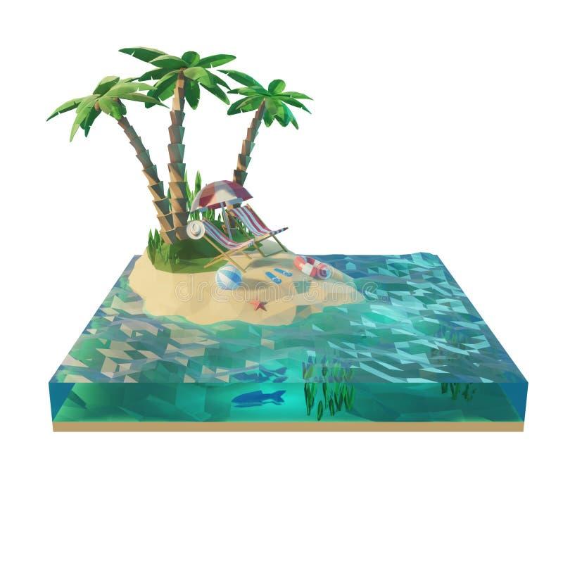 Parte de uma ilha tropical com mar, cadeiras de plataforma sob o guarda-chuva em uma praia Ilustração do conceito 3d do curso Iso ilustração stock