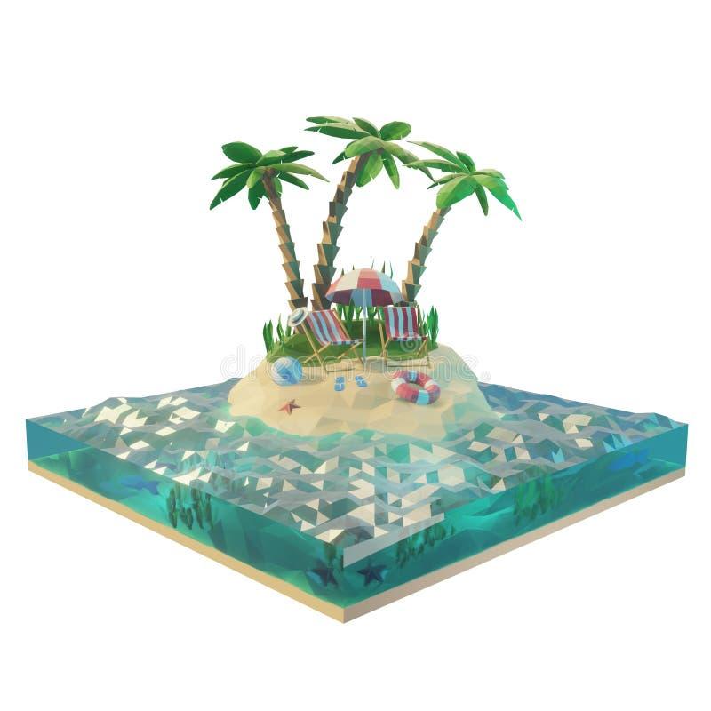 Parte de uma ilha tropical com mar, cadeiras de plataforma sob o guarda-chuva de praia em uma praia Ilustração do conceito 3d do  ilustração stock