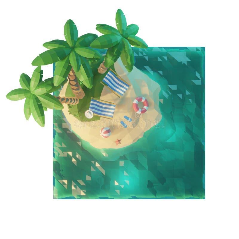 Parte de uma ilha tropical com mar, cadeiras de plataforma sob um guarda-chuva em uma praia Vista superior Ilustração do conceito ilustração do vetor