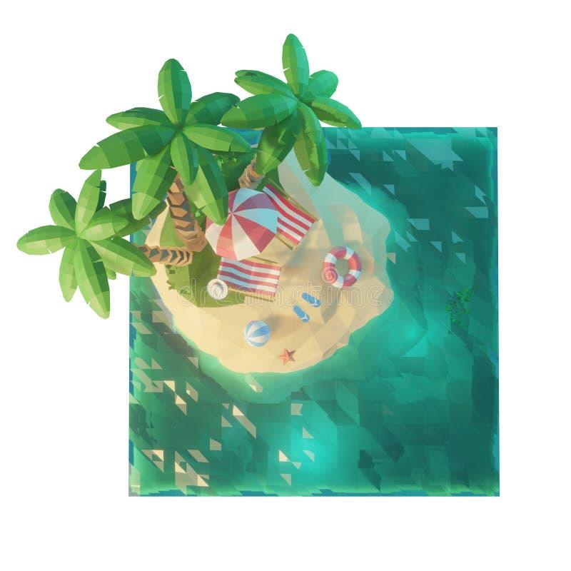 Parte de uma ilha tropical com mar, cadeiras de plataforma sob um guarda-chuva em uma praia Vista superior Ilustração do conceito ilustração royalty free