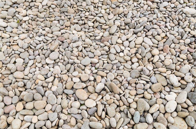 Parte de una playa rocosa derramada con el gris blanco del pequeño guijarro liso foto de archivo libre de regalías