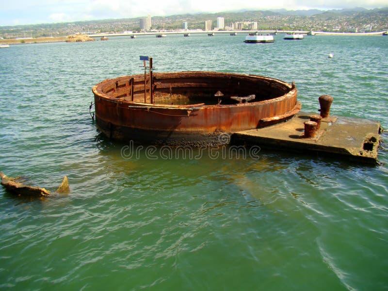 Parte de USS submerso o Arizona, Pearl Harbor fotos de stock royalty free