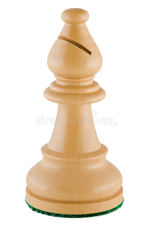 Parte de xadrez - bishop branco imagens de stock royalty free