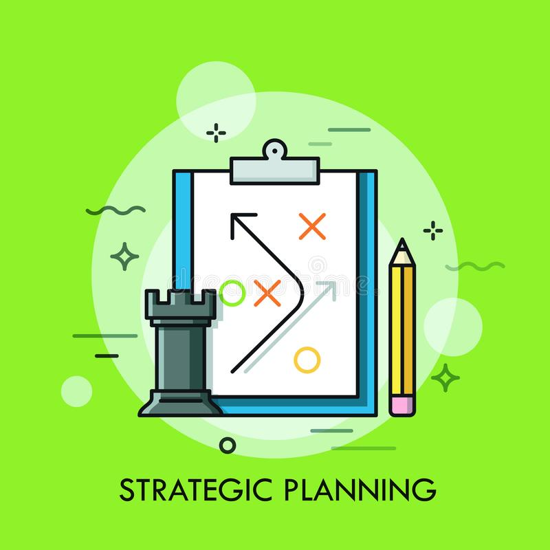 Parte de xadrez da gralha, lápis e plano estratégico tirados na folha de papel Planeamento do desenvolvimento da estratégia empre ilustração stock