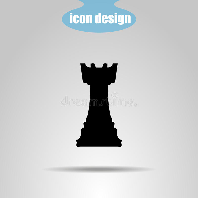 Parte de xadrez do ícone em um fundo cinzento Ilustração do vetor rook ilustração stock