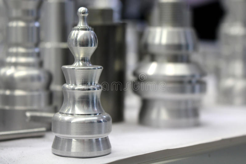 Parte de xadrez do metal fotografia de stock royalty free