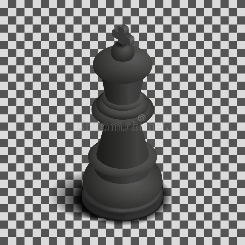 Parte de xadrez preta isométrica, ilustração do rei do vetor ilustração stock