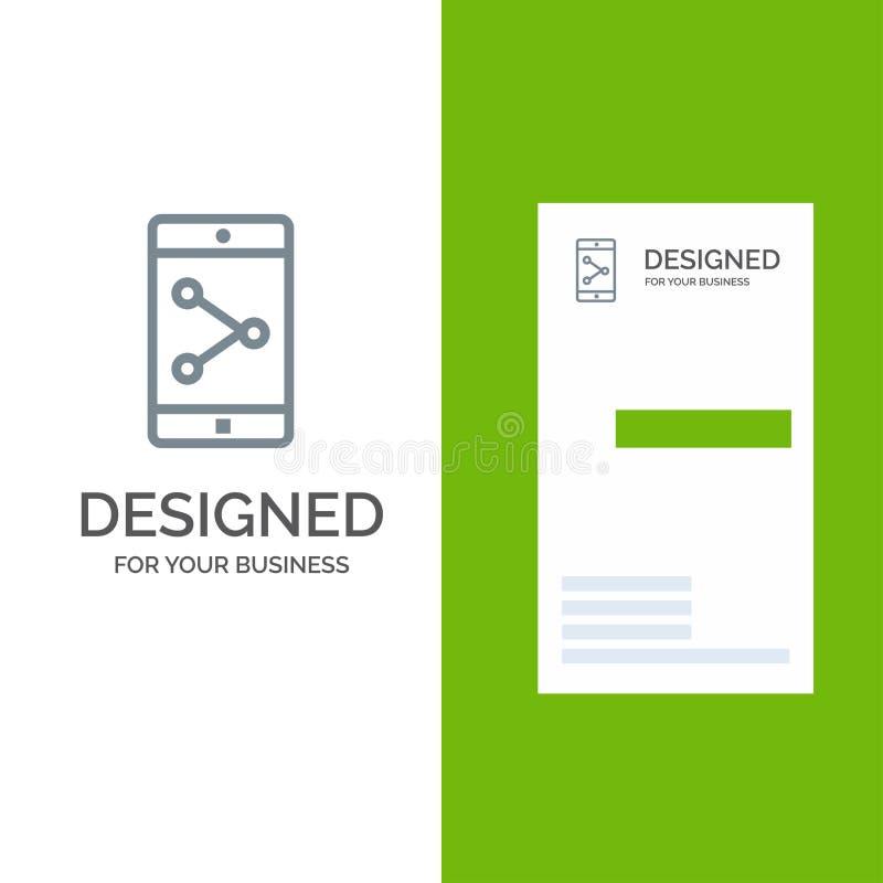 Parte del App, móvil, aplicación móvil Grey Logo Design y plantilla de la tarjeta de visita ilustración del vector