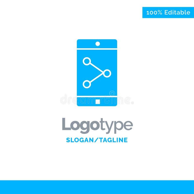 Parte del App, móvil, aplicación móvil Logo Template sólido azul Lugar para el Tagline libre illustration