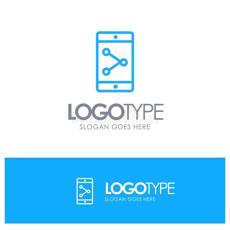 Parte del App, móvil, esquema azul Logo Place de la aplicación móvil para el Tagline ilustración del vector