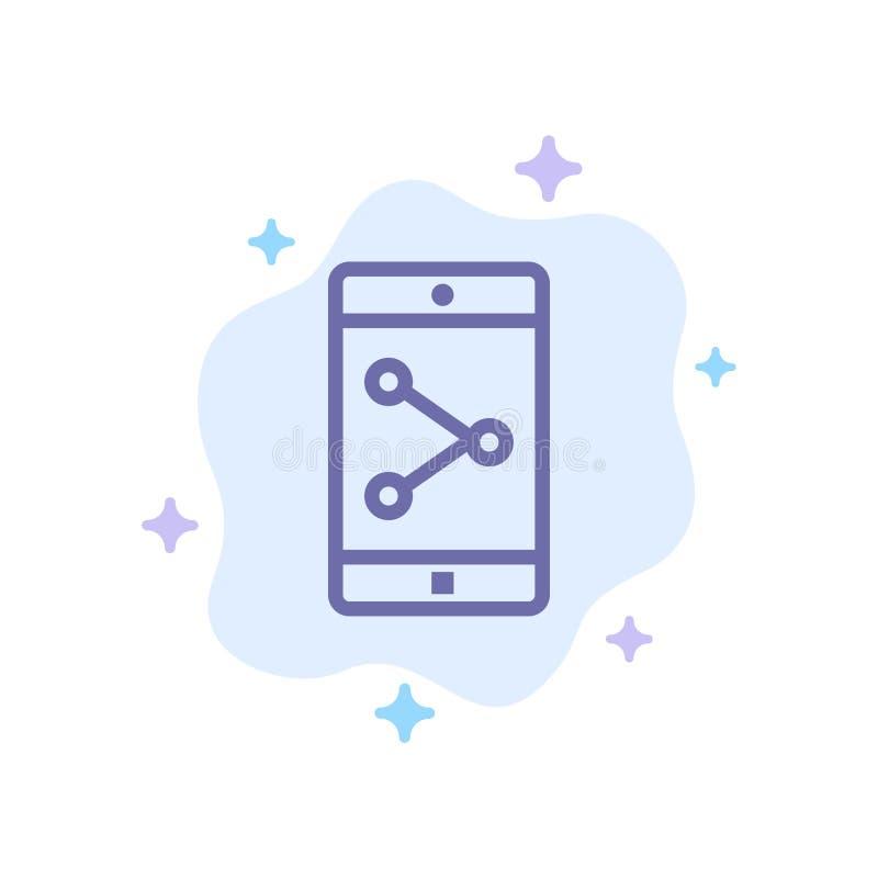 Parte del App, móvil, icono azul de la aplicación móvil en fondo abstracto de la nube stock de ilustración
