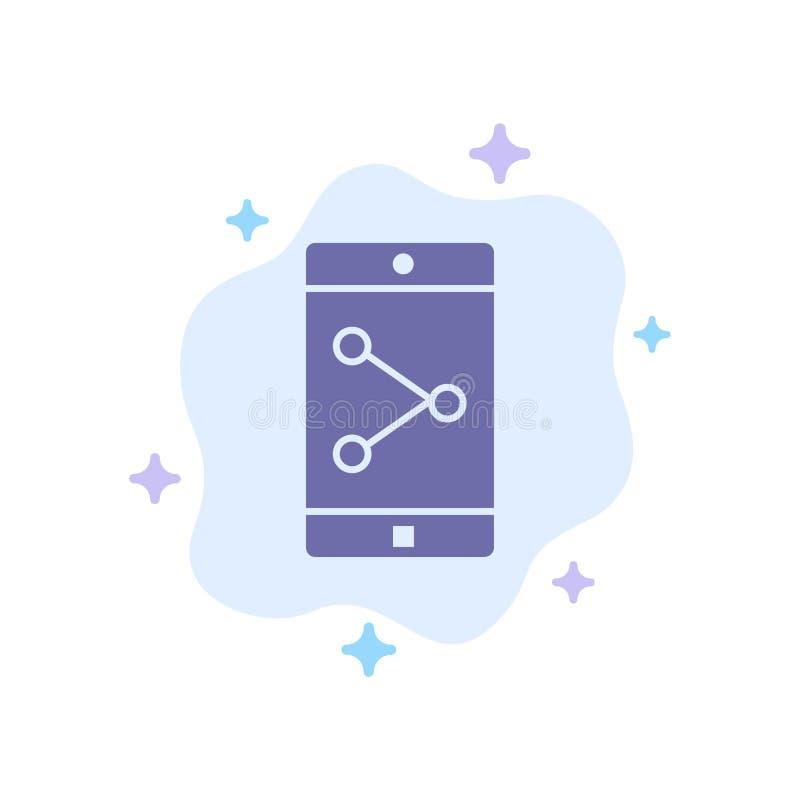 Parte del App, móvil, icono azul de la aplicación móvil en fondo abstracto de la nube ilustración del vector