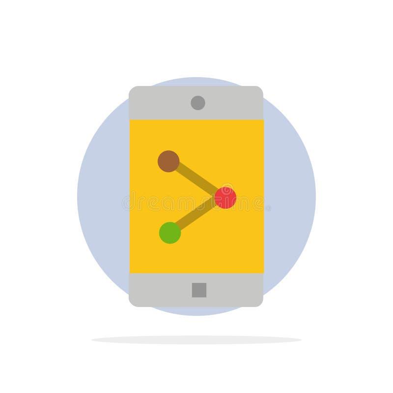 Parte del App, móvil, icono plano del color de fondo del círculo del extracto de la aplicación móvil stock de ilustración