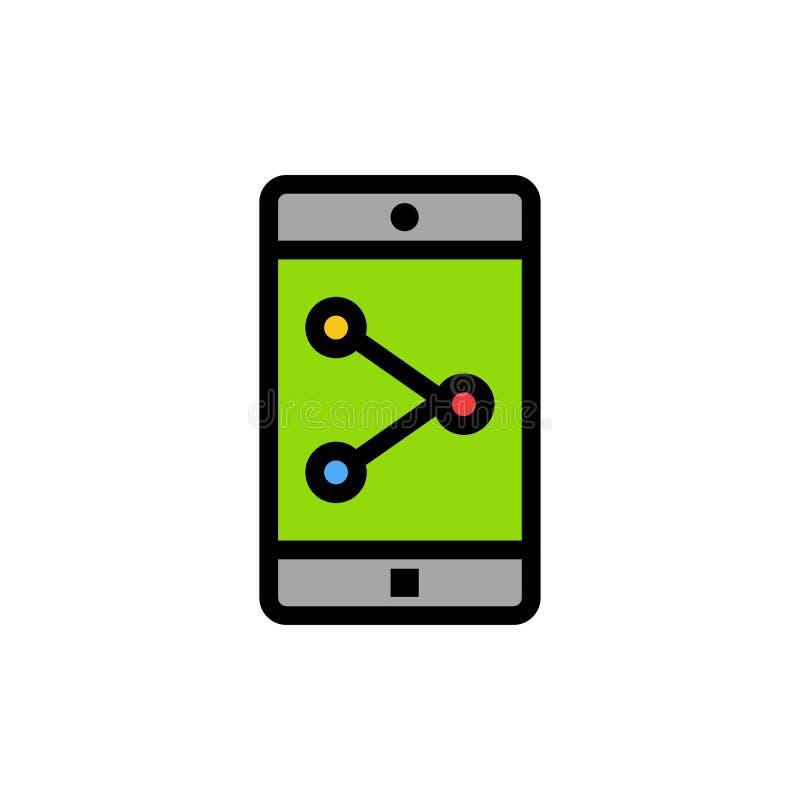 Parte del App, móvil, icono plano del color de la aplicación móvil Plantilla de la bandera del icono del vector ilustración del vector