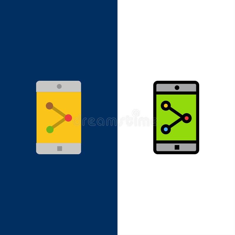 Parte del App, móvil, iconos de la aplicación móvil El plano y la línea icono llenado fijaron el fondo azul del vector ilustración del vector