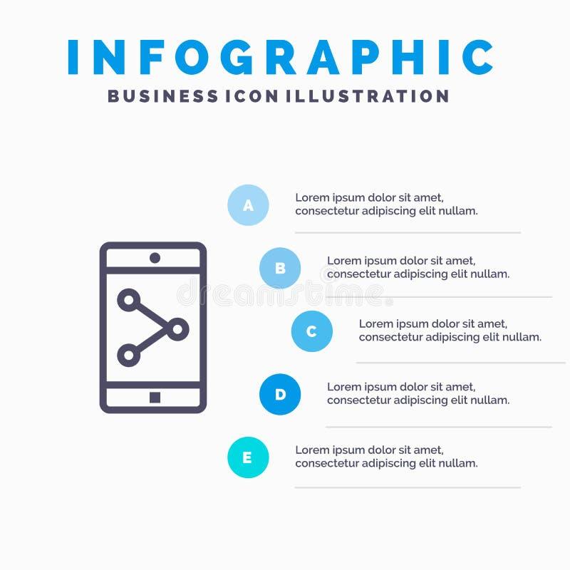 Parte del App, móvil, línea icono de la aplicación móvil con el fondo del infographics de la presentación de 5 pasos stock de ilustración