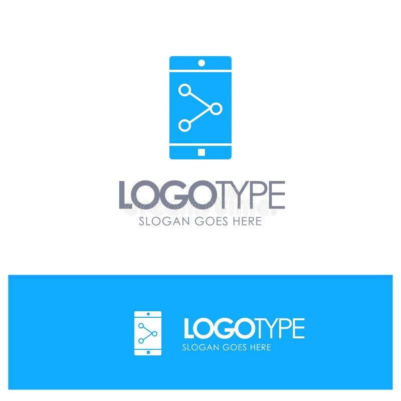 Parte del App, móvil, logotipo sólido azul de la aplicación móvil con el lugar para el tagline stock de ilustración