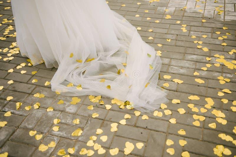Parte del bride' fine del vestito da sposa da s su fotografia stock