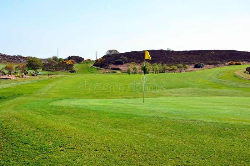 Parte del campo de hierba verde del golf con la bandera imagen de archivo