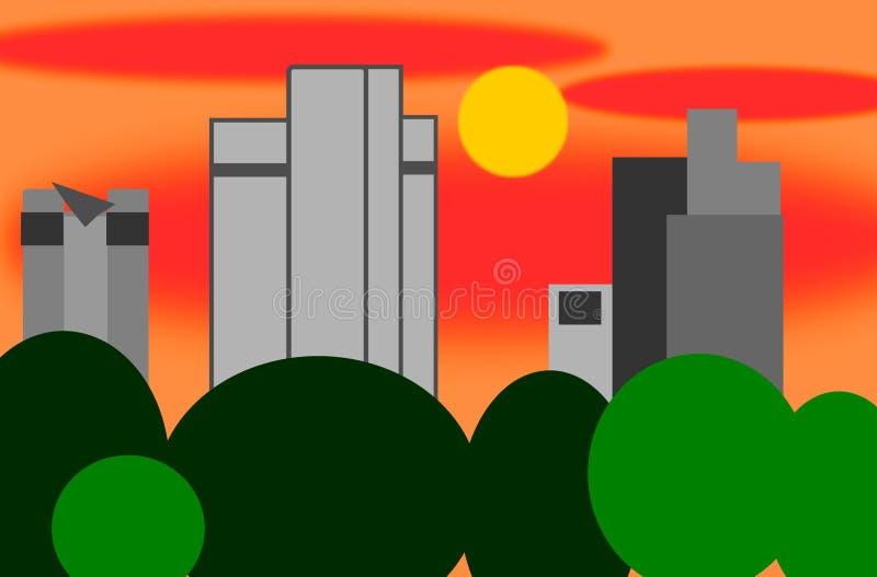 Parte del horizonte de la tubería de Francfort en la puesta del sol stock de ilustración