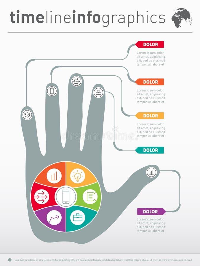 Parte del informe con la mano humana y de iconos fijados conce del negocio libre illustration