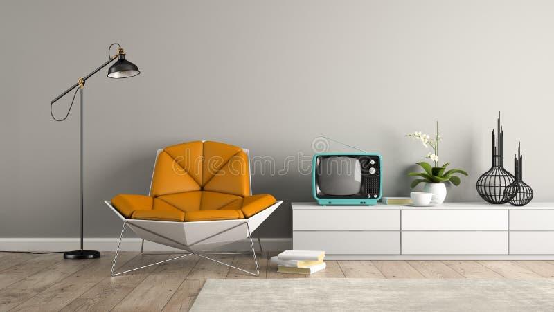 Parte del interior con la butaca moderna y la representación azul de la TV 3D imagenes de archivo