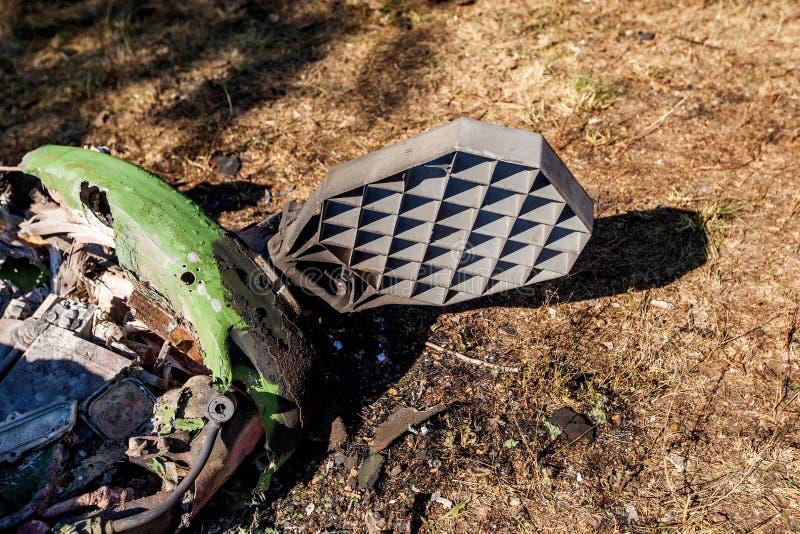 Parte del motore del conflitto di Donbass e dell'Ucraina di guerra, è caduto dopo che del missile balistico fotografia stock