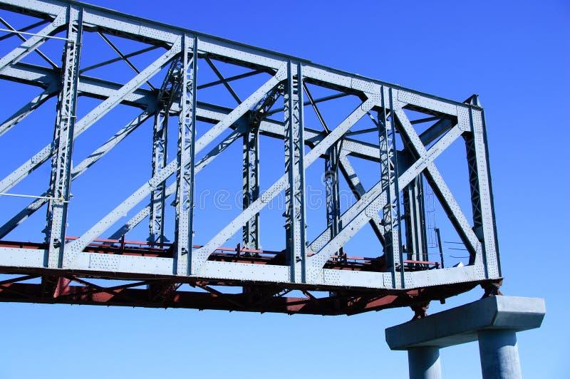 Parte del ponte ferroviario su un sostegno concreto Felice contro il cielo blu fotografie stock