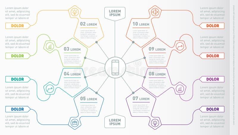 Parte del rapporto con le icone messe Vettore infographic del technol illustrazione vettoriale