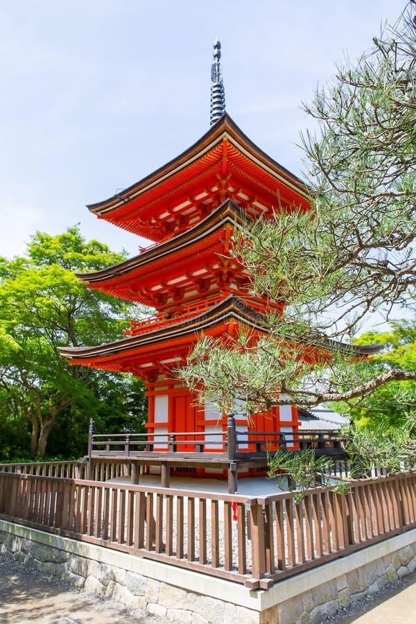 Parte del tempio di Kiyomizu-dera a Kyoto, Giappone immagine stock libera da diritti