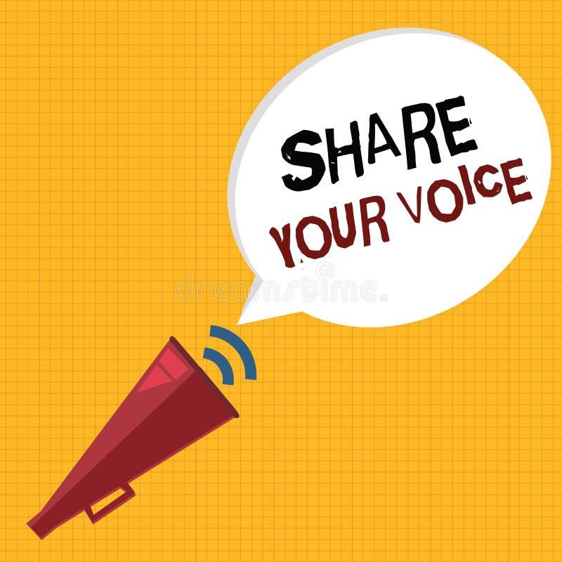 Parte del texto de la escritura de la palabra su voz Concepto del negocio para pedir que el empleado o el miembro dé su opinión o ilustración del vector