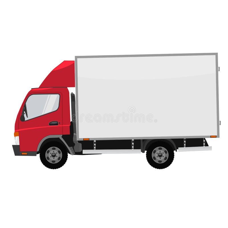 Parte delantera del pequeño camión del vector Entrega del cargo color plano stock de ilustración