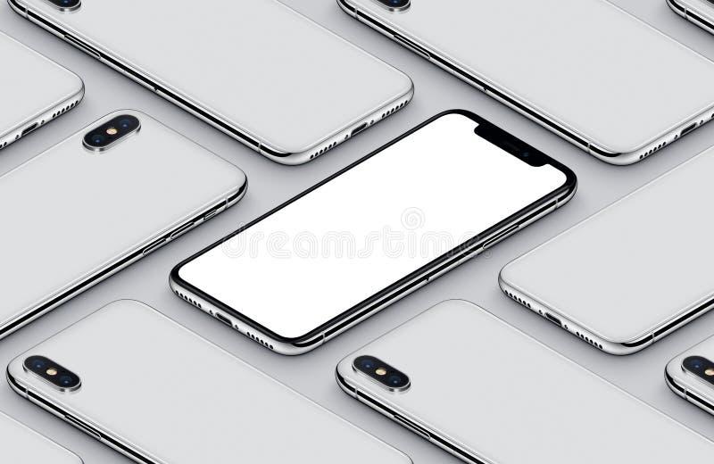 Parte delantera del smartphone de la perspectiva del modelo isométrico de la maqueta y cartel del blanco de los lados traseros libre illustration