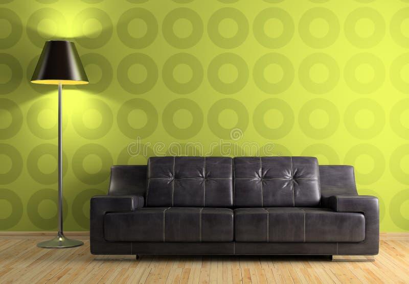 Parte dell'interiore moderno con il sofà e la lampada illustrazione vettoriale
